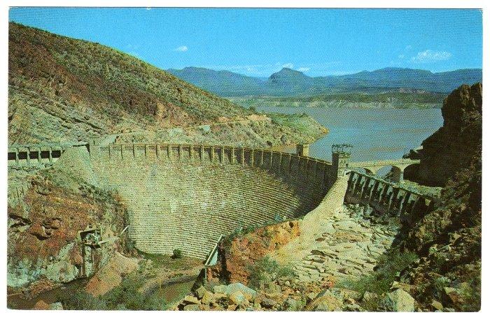 Aerial view Roosevelt Dam Roosevelt, AZ on The Apache Trail Postcard National Park #0395