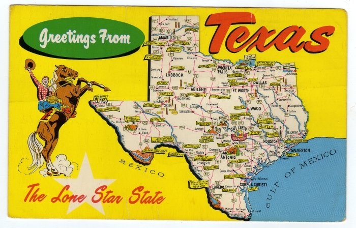 Greetings from texas vintage postcard cowboy horse map pre greetings from texas vintage postcard cowboy horse map pre interstate points of interest 0339 m4hsunfo