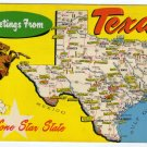 Greetings from Texas Vintage Postcard cowboy horse Map pre Interstate Points of Interest  #0339