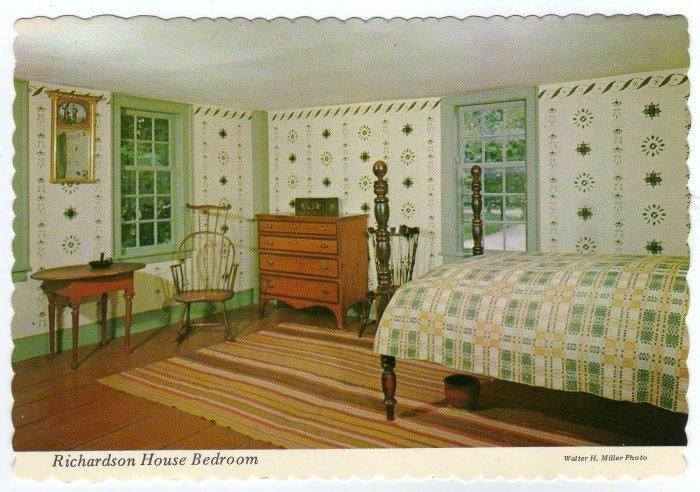 Richardson House Bedroom, Old Sturbridge Village, MA Brookfield, MA Postcard  #0352
