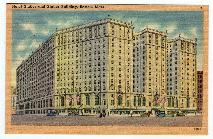 Hotel Statler and Statler Building Boston, MA Linen cars circa 1930s Tichnor  #0348