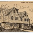 John Ward House Salem, MA Black and White Drawing Postcard  #0349