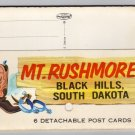 Mt. Rushmore postcard folder, 6 detachable postcards intact,  Plastichrome early 1960s  #0368