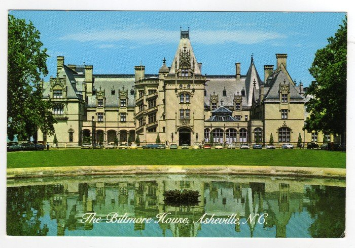 Front view of The Biltmore House with water reflection Postcard Asheville, NC  #0374