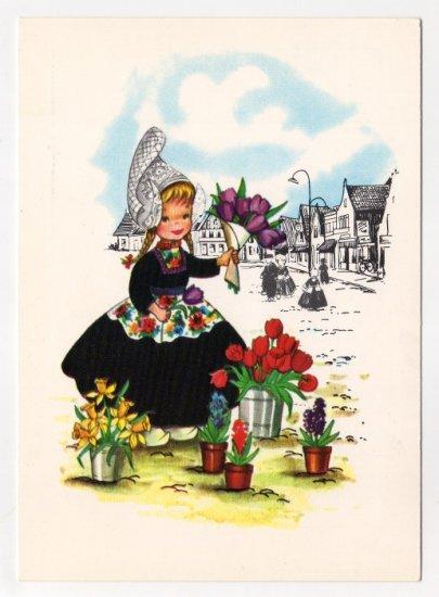 Girl with Flowers  Nelis Nurseries Holland MI  Vintage Advertising Postcard     #0421