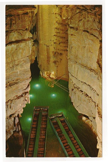 Crystal Lake in Mammoth Cave Postcard 1950s Mammoth Cave National Park, KY