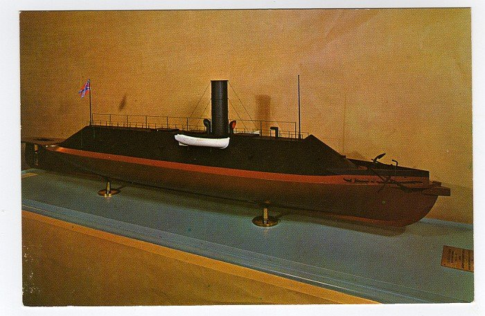 MERRIMACK the Confederate ironclad model at Fort Monroe Casemate Museum VA postcard  #0476