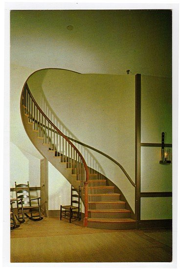 Spiral staircase Micajah Burnett Shakertown Pleasant Hill, KY Postcard Walter H. Miller Photo  #0459