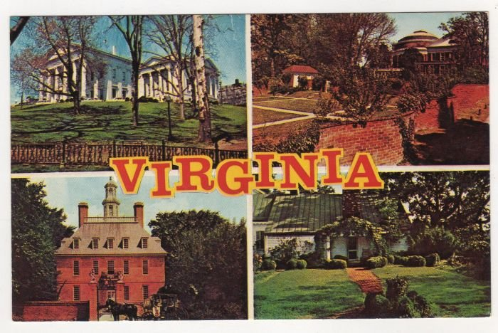 Virginia Multi-view postcard State Capitol - Univ of VA - Governor's Palace - Ash Lawn  #0478
