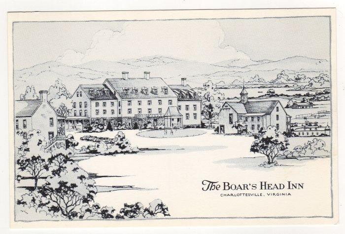 The Boar's Head Inn Charlottesville, VA postcard pen and ink drawing   #0481