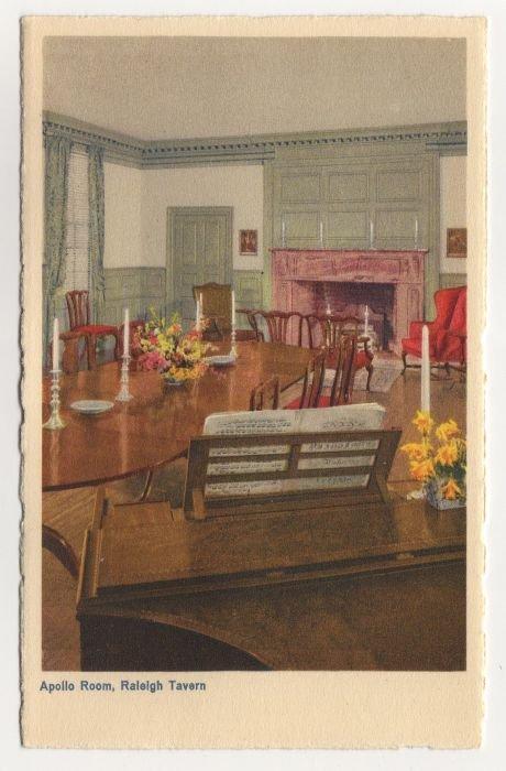 Apollo Room, Raleigh Tavern, Williamsburg, VA postcard Swiss Made white border #0494