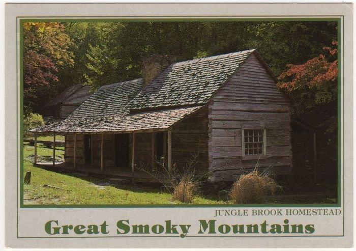 """Jungle Brook Homestead - Noah """"Bub"""" Ogle Farm Postcard Great Smoky Mountains National Park"""