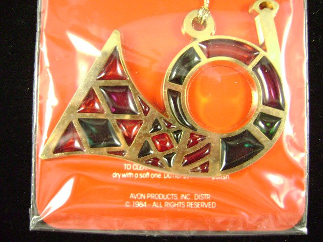 Vintage 1984 Avon Jewel Tone Christmas Horn Ornament