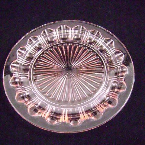Hocking Depression Glass Colonial Knife & Fork Pink Dinner Plate