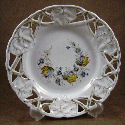 Open Edge Floral White with Gold Trim Collector Plate