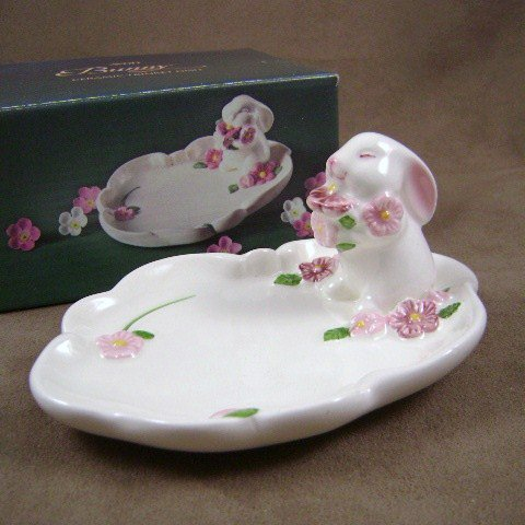 Vintage Avon 1985 Bunny Ceramic Trinket Dish