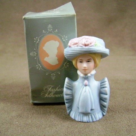 Avon American Fashion Thimbles 1890 Porcelain Lady Silhouette
