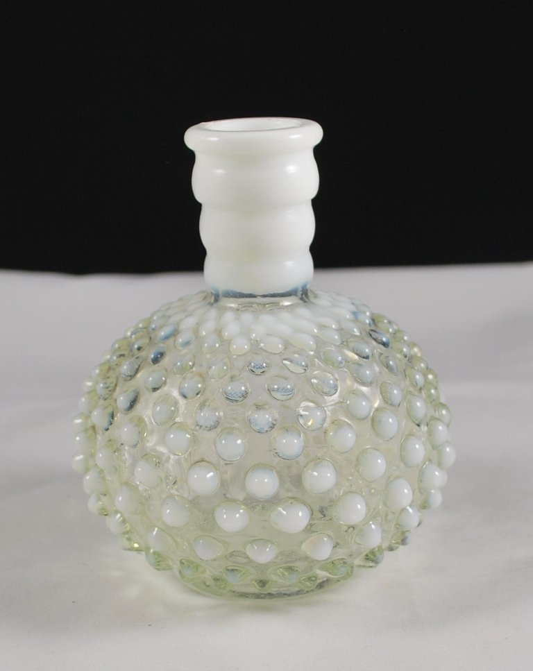Fenton French Opalescent Wrisley Hobnail Cologne Bottle Vase