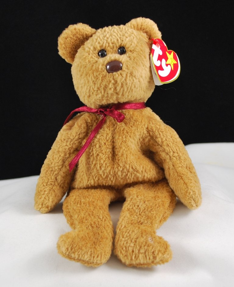 Retired Ty Beanie Baby Curly The Bear 4052