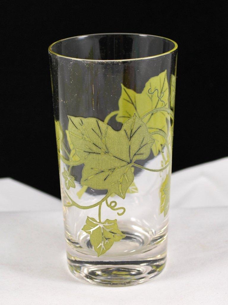 Vintage Glass Tumbler Clear with Olive Green Ivy Leaf Design