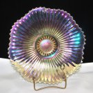 Vintage Iridescent Amber Glass Ribbed Plate