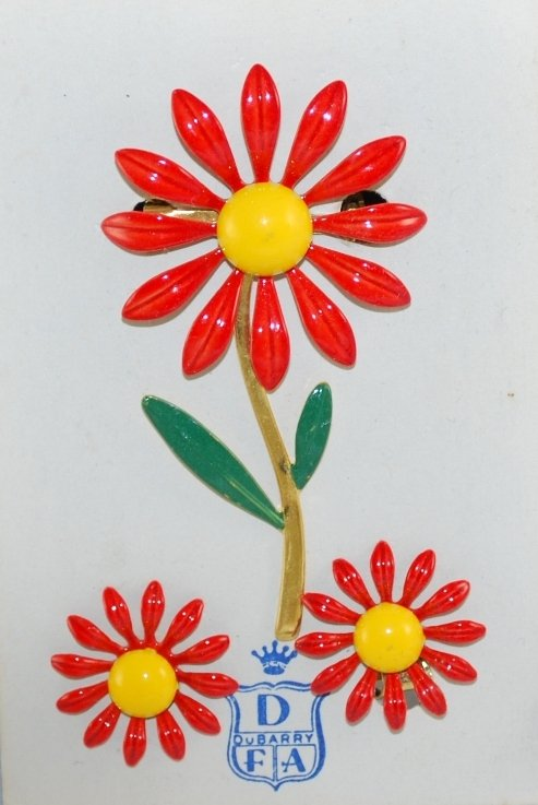 Vintage DuBarry Daisy Flower Pin or Brooch and Earring Set