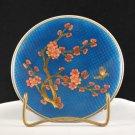 Vintage Blue Metal Collector Plate Floral Bird Design in Glass