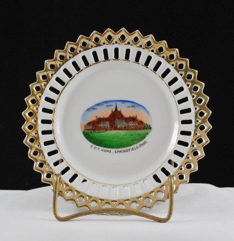 Vintage Order of Odd Fellow of Springfield Ohio Souvenir China Plate