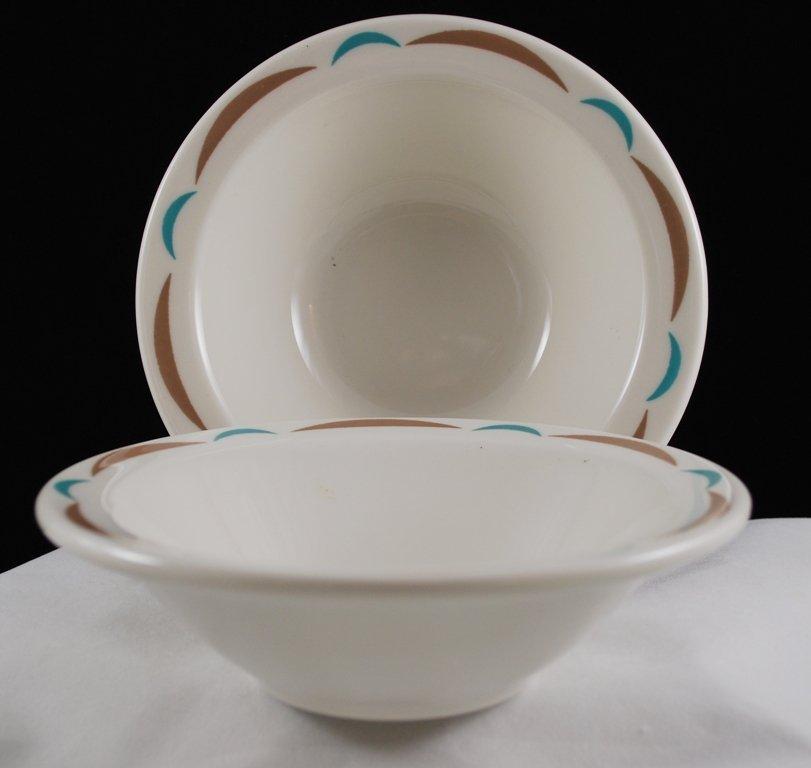 Homer Laughlin Best China Restaurant Ware Aqua Brown Cereal Bowls
