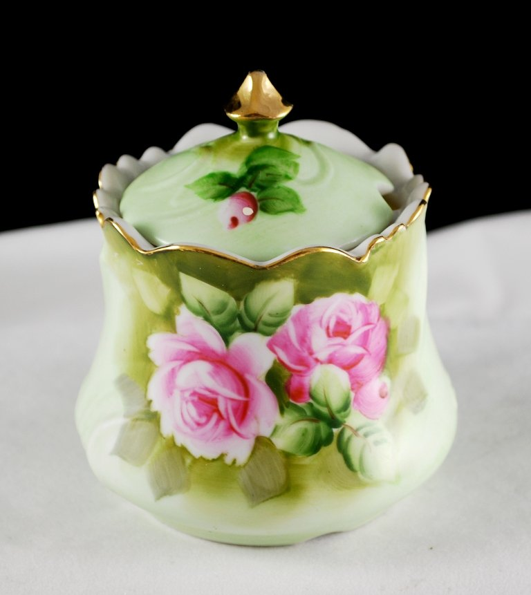 Lefton Heritage Green w/ Pink Roses Jam or Jelly Jar w/ Lid