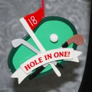 Golf Hole In One Wooden Christmas Ornament