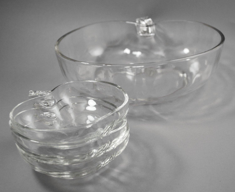 Hazel Atlas Orchard Ware Serving and 3 Clear Glass Dessert Bowls