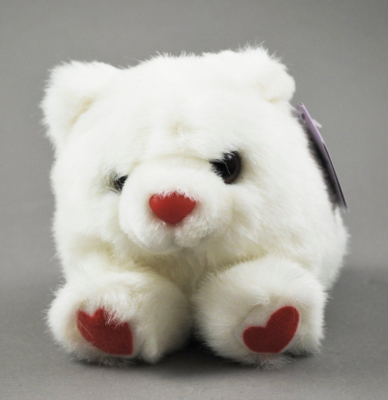 Hugs the White Valentine Puffkins Plush Bean Bag Swibco Style 6679