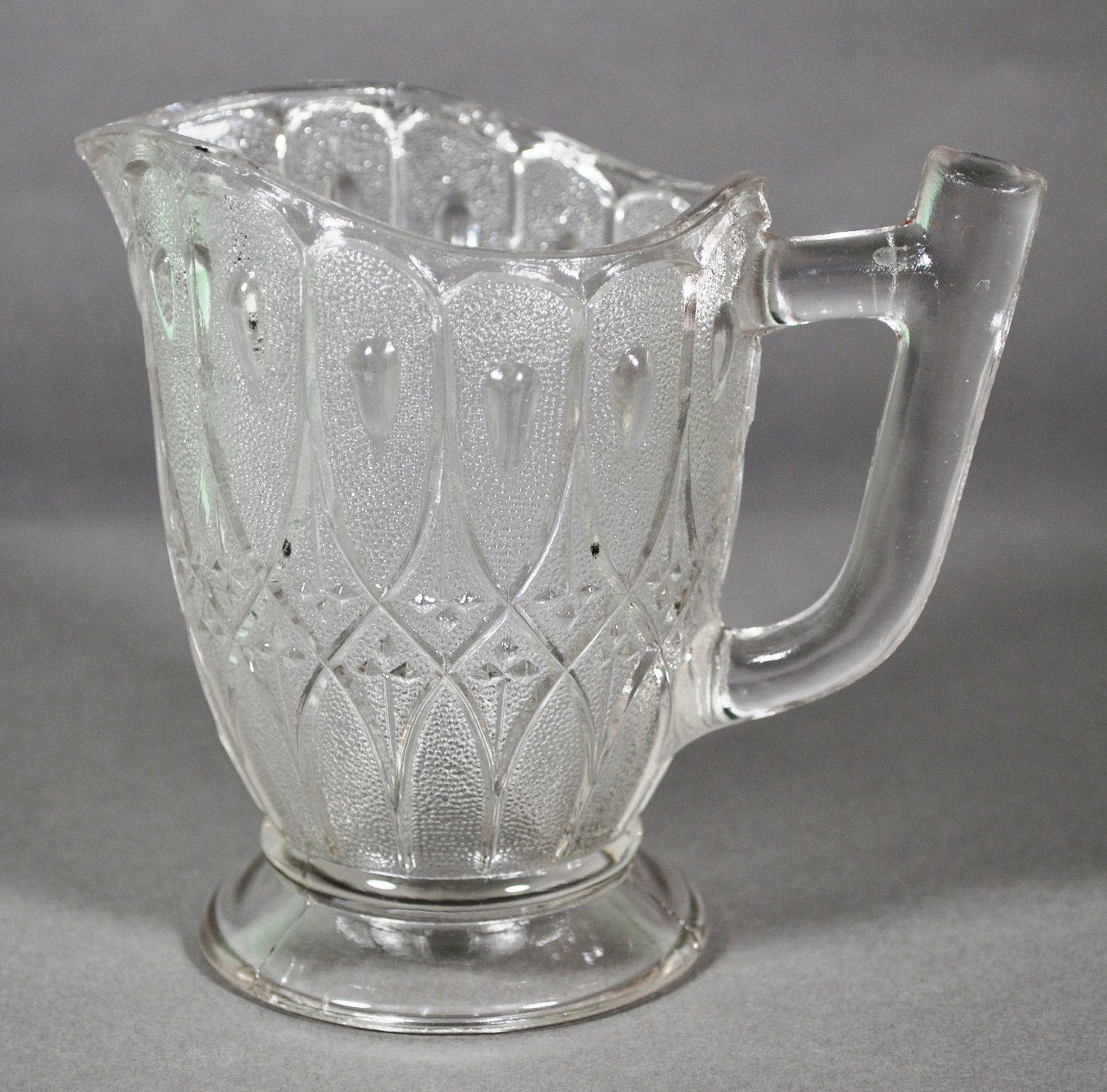 Early American Pressed Glass Stippled Double Loop  Crystal Creamer