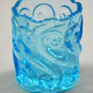 L.G. Wright S Repeat Celeste Blue Glass Toothpick Holder