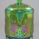 Indiana Carnival Harvest Grape Green Glass Small Covered Canister or Candy Jar
