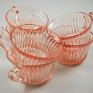 Set of 6 Hocking Queen Mary Pink Depression Glass Cups