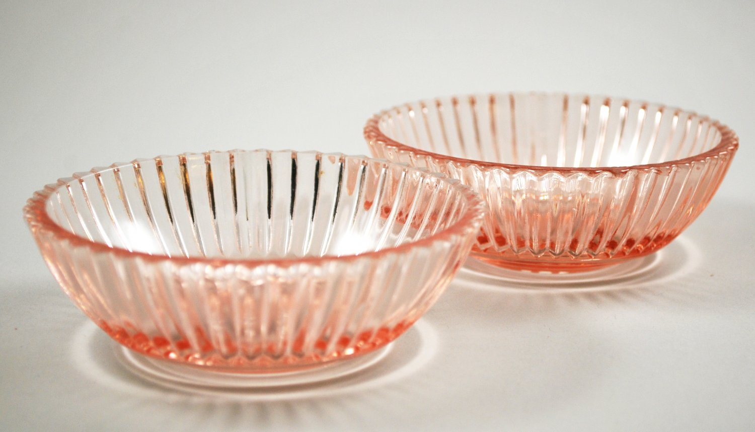 Set of 2 Hocking Pink Depression Queen Mary Sauce Bowl