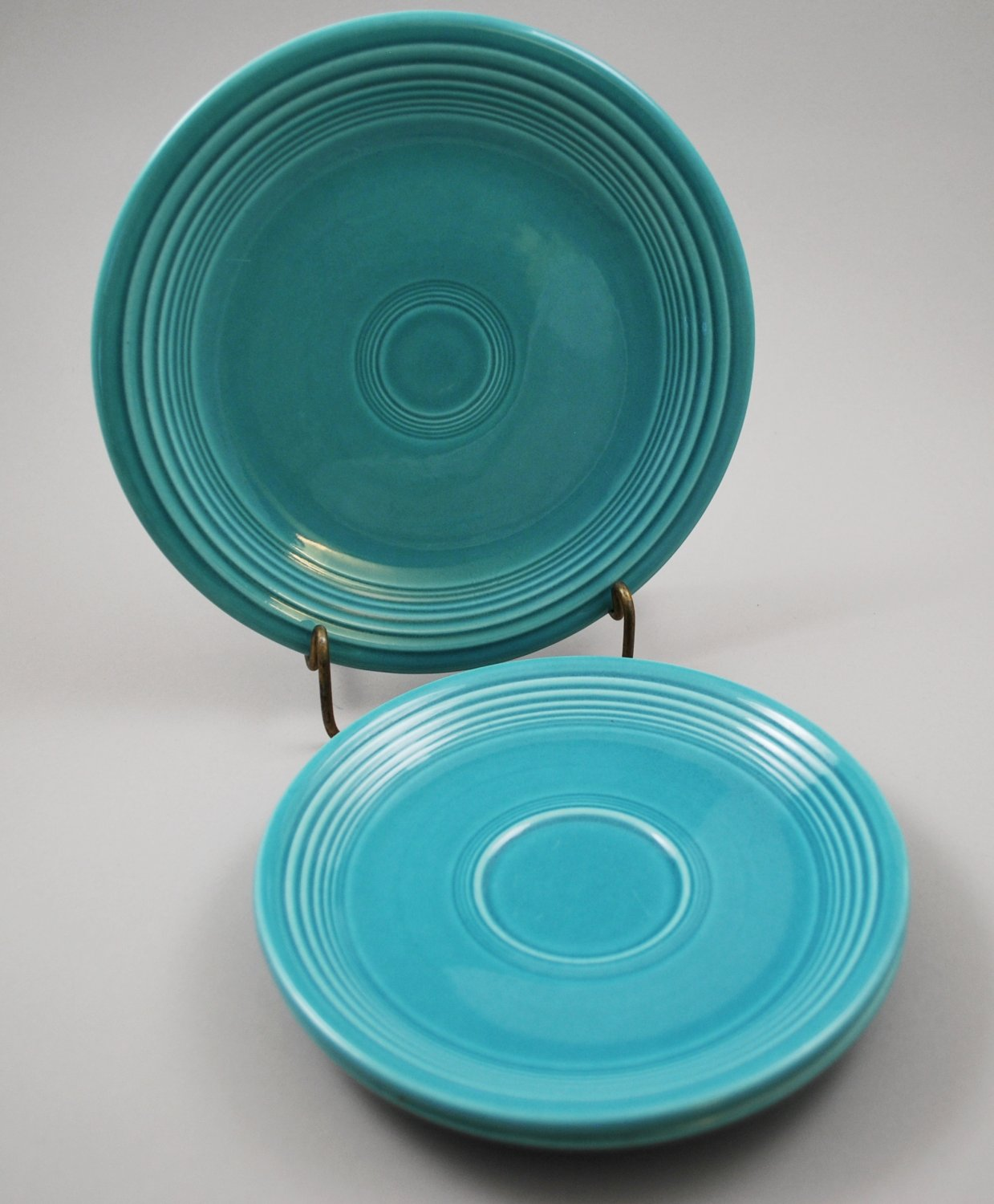 Set of Homer Laughlin Fiesta Vintage Turquoise 1 Dessert Plate and 2 Saucers