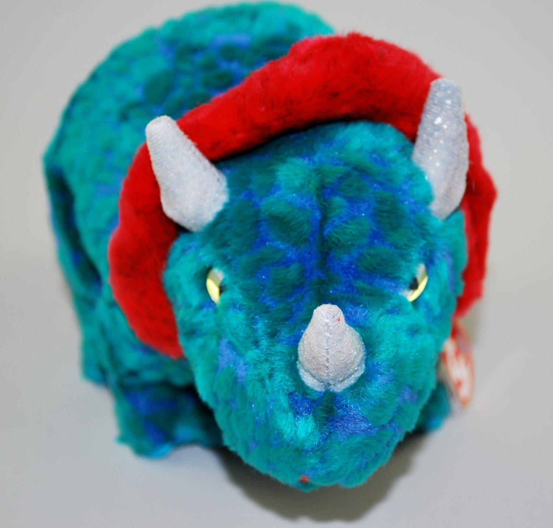 Hornsly The Dinosaur Blue Green Plush Ty Beanie Buddy Style 9407