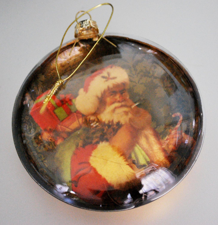 Vintage Elliptical Plastic Santa Claus Christmas Tree Ornament