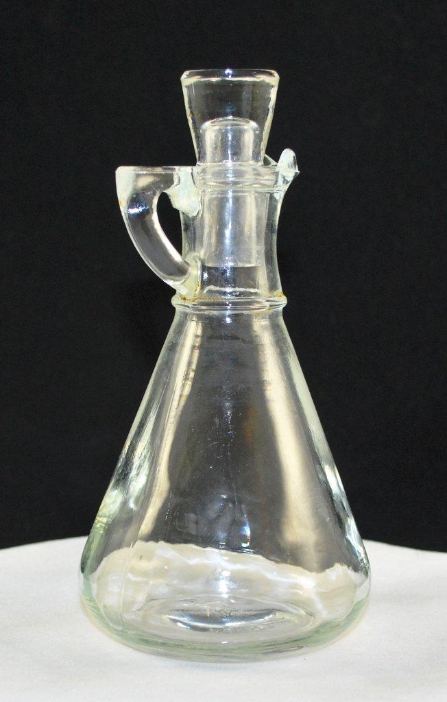 Hazel Atlas Vintage Clear Glass Vinegar Cruet with Stopper