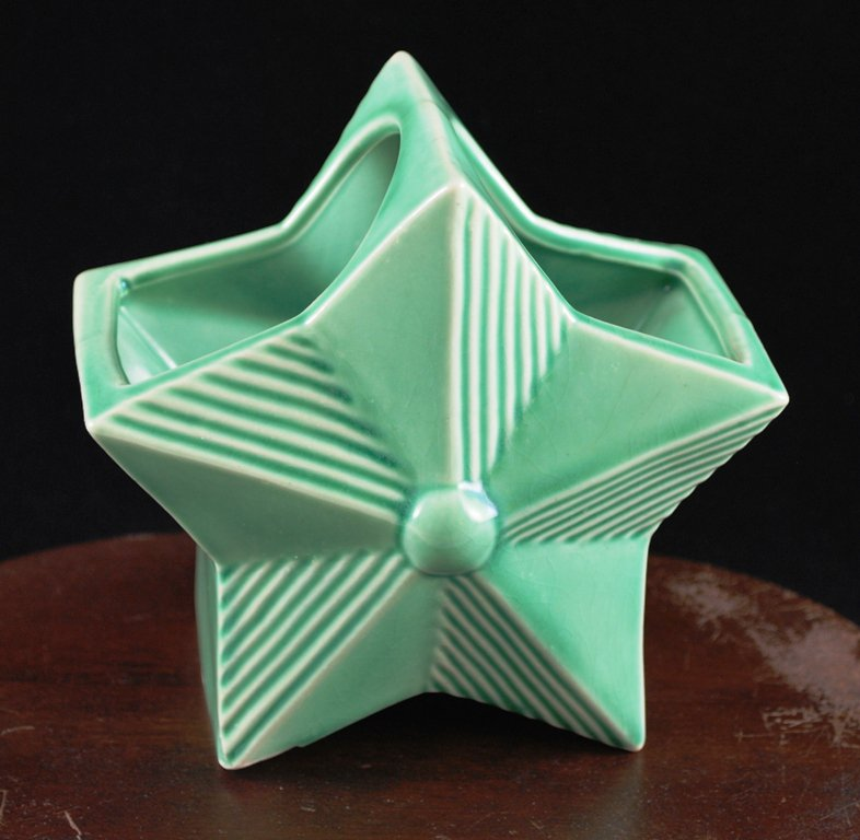 Vintage Green Ribbed Star Shaped Planter w/ Button
