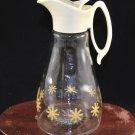 Log Cabin Syrup Glass Jar Pitcher Stars w/ Lid