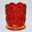 L.E. Smith Amberina or Flame Moon and Stars Glass Vintage Toothpick Holder