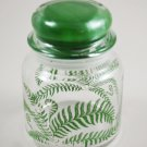 Vintage Clear Glass Storage Jar Covered Canister Green Ferns