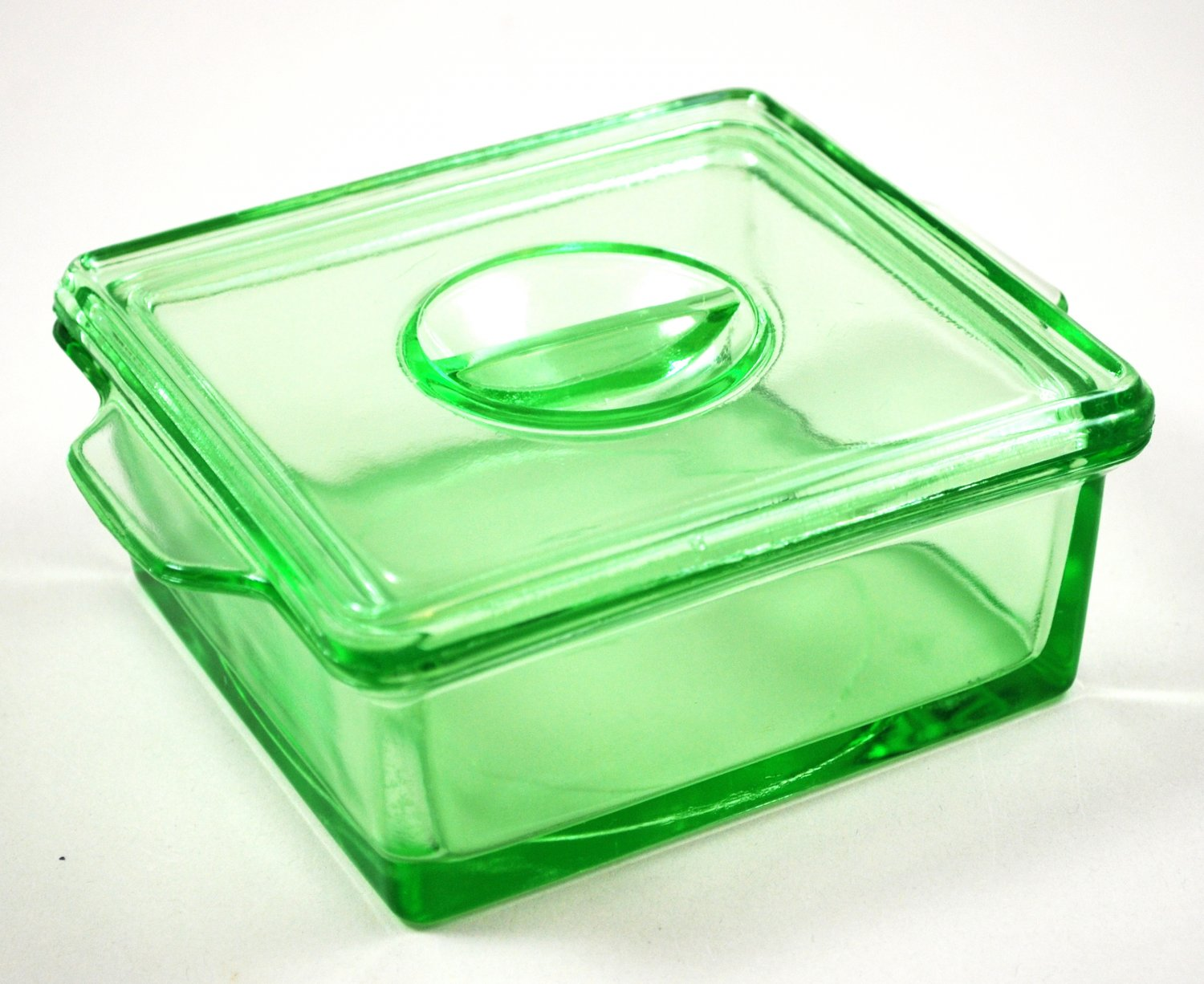 Hazel Atlas Depression Green Refrigerator Covered Glass Dish Straight Line Grip