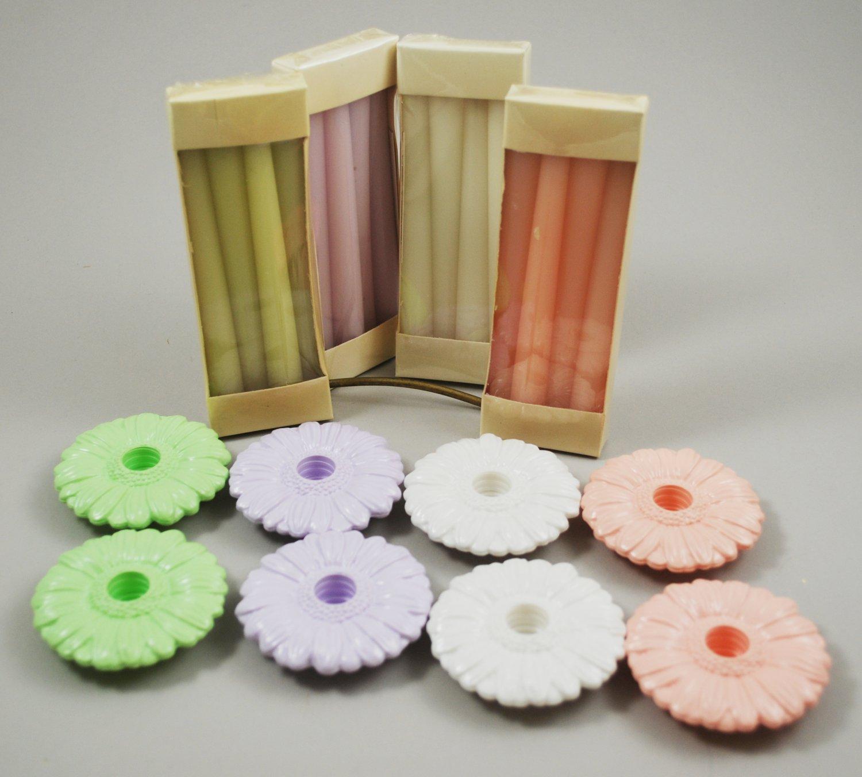 Avon Set of 4 Fancy Flower Holders w/ Candles Peach Lavender White Green