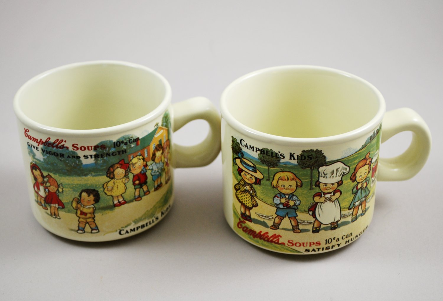 1994 Campbell Kids Soup Westwood Replica 1910 Souvenir Postcard Ceramic Mugs