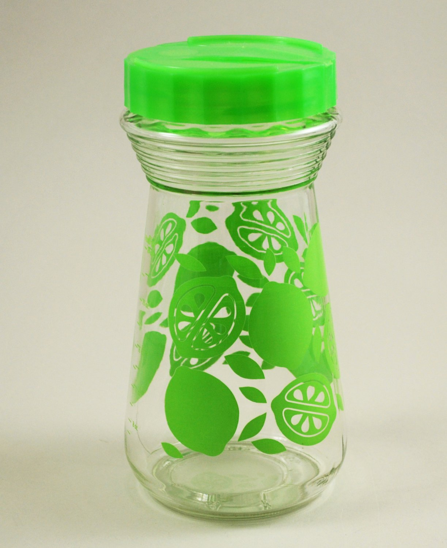 Vintage Glass Juice Carafe Pitcher w/ Green Lime Design w/ Plastic Flip Top Lid